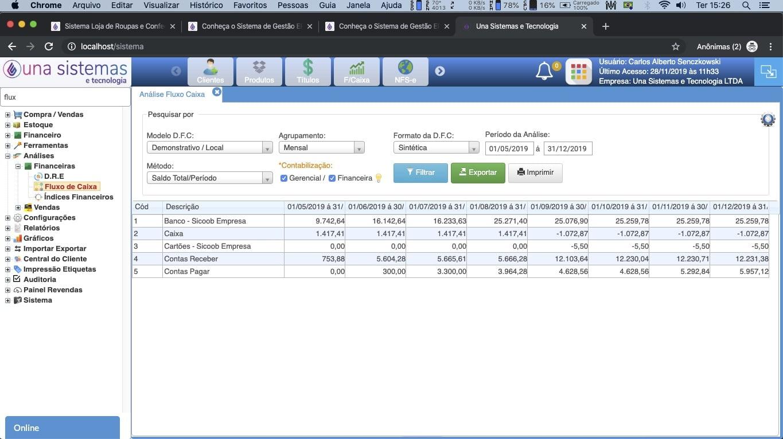 Fluxo de Caixa Sistema de Gestão ERP Una Sistemas e Tecnologia
